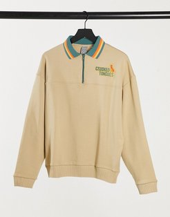 sweatshirt with polo neck and embroidered logo-Beige