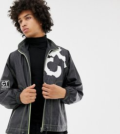 windbreaker in logo print-Black