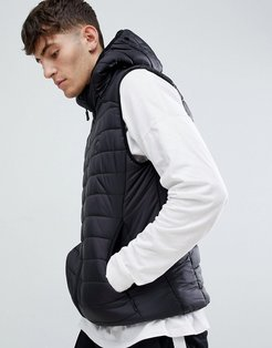 Quilted lightweight hooded puffer vest fine nylon-Black