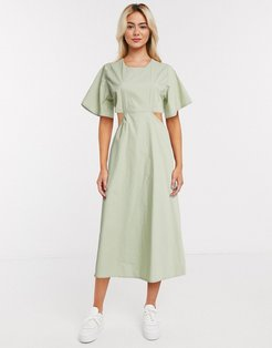 midi dress with cut outs-Green