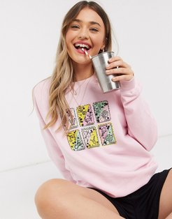 oversized sweatshirt with tarot cards print in pink