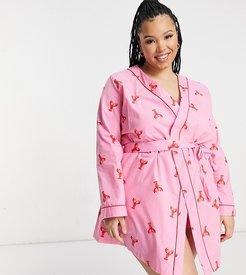 dressing gown in lobster print set-Pink