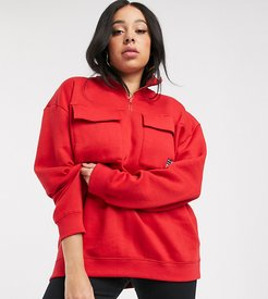half zip sweatshirt with utility pockets and flag embroidered badge