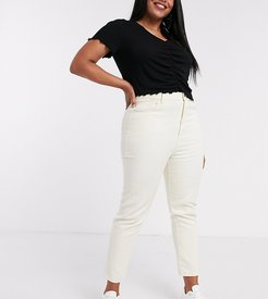 high waist mom jeans in stone-Neutral
