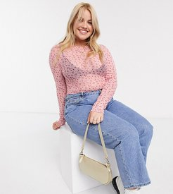 long sleeve top in ditsy floral mesh-Pink