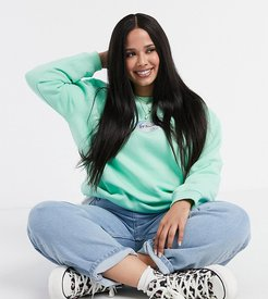 oversized sweatshirt with whoops print in pastel-Green