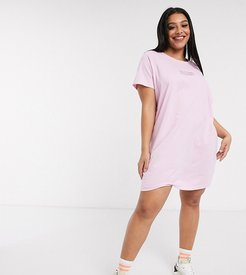 oversized t-shirt dress with los angeles print-Pink