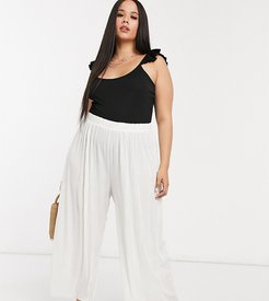 relaxed wide leg pants in plisse-White