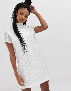 shift dress with ring pull and ruffle detail in broderie-White