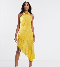 halter neck ruched midi dress in golden yellow