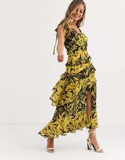 one shoulder midaxi dress in yellow black mixed print