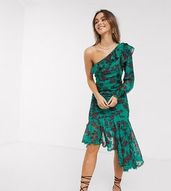one shoulder midi dress with ruched side in teal burn out floral-Multi