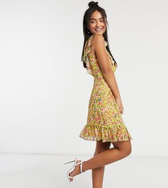 plunge mini dress with lace insert in yellow floral-Multi