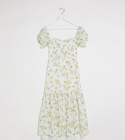 puff sleeve button up broderie midi dress in white based ditsy floral print-Multi