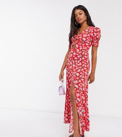 thigh split maxi dress with puff sleeve and cut out in red rose print