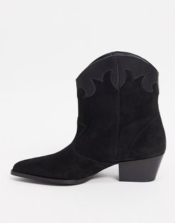 leather contrast boots in black suede