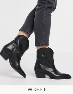 leather western ankle boots in black