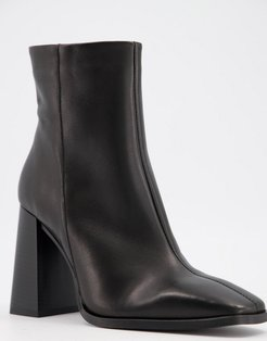square toe block heel ankle boots in black leather