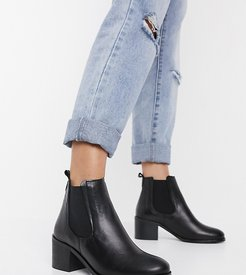 wide fit block heel chelsea boots in black leather
