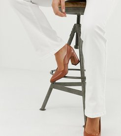 wide fit leather point block heels-Tan