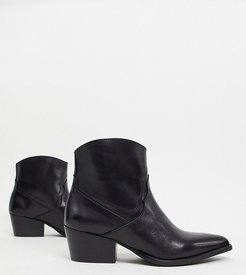 wide fit leather western ankle boots-Black
