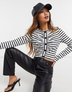 ruched front striped top in multi