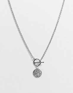 DesignB neckchain in silver with t-bar and disc pendant