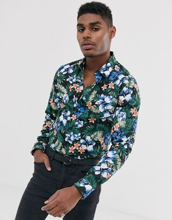 floral slim fit shirt-Black
