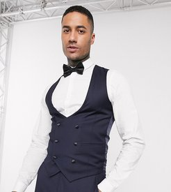 Tall skinny fit scoop double breasted suit vest-Navy