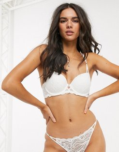 Mica recycled lace t-shirt bra in ivory-White