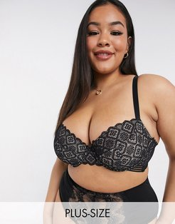 Plus Size Sienna non padded graphic lace bra in black