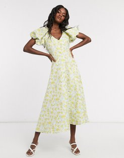 Dream Sister Jane midi tea dress with faux pearl buttons and puff sleeves in floral jacquard-White