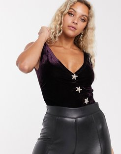 plunge front body with rhinestone starfish buttons in velvet-Red