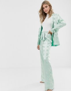 wide leg pants with belted waist in tonal check satin two-piece-Green