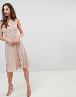 Midi Dress With Lace Detail-Brown