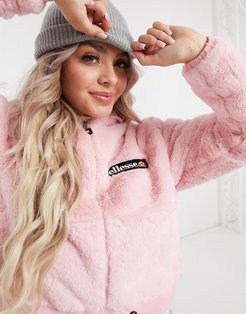 faux fur cropped hooded jacket in pink