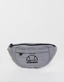 reflective quilted fanny pack in silver