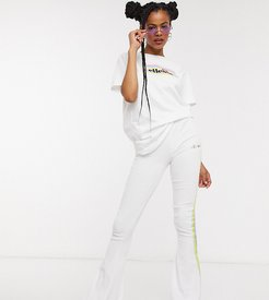 skinny flares in velvet with rainbow taping two-piece-White
