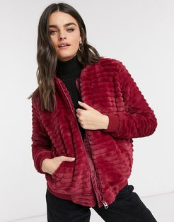faux fur bomber jacket in red
