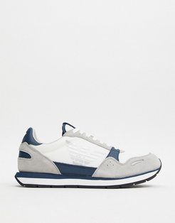mixed leather large eagle logo runner sneakers in white