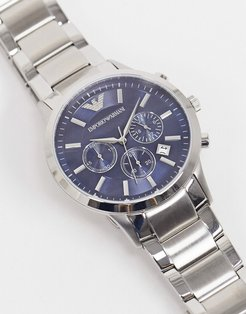 silver bracelet watch with blue dial AR2448
