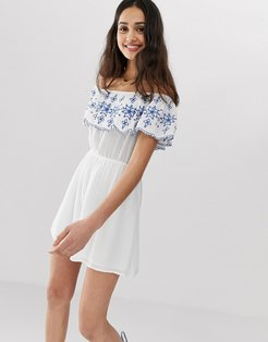 bardot mini dress with embroidered frill detail-White