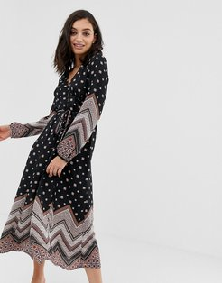 En Creme button front midi dress with plunge front in mixed print-Multi