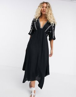 midi dress with constrast embroidery-Black
