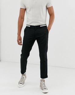 cropped chino with elastic waist-Black