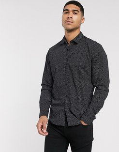 ditsy print shirt in black