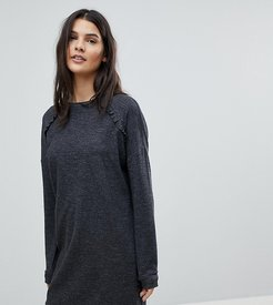 Frill Detail Knitted Dress-Grey