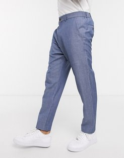 linen cropped pants in blue-Blues