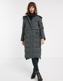 midi padded coat with faux fur hood in gray