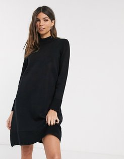 ribbed high neck knitted dress-Black